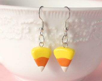 Candy Corn Polymer Clay Silver Earrings