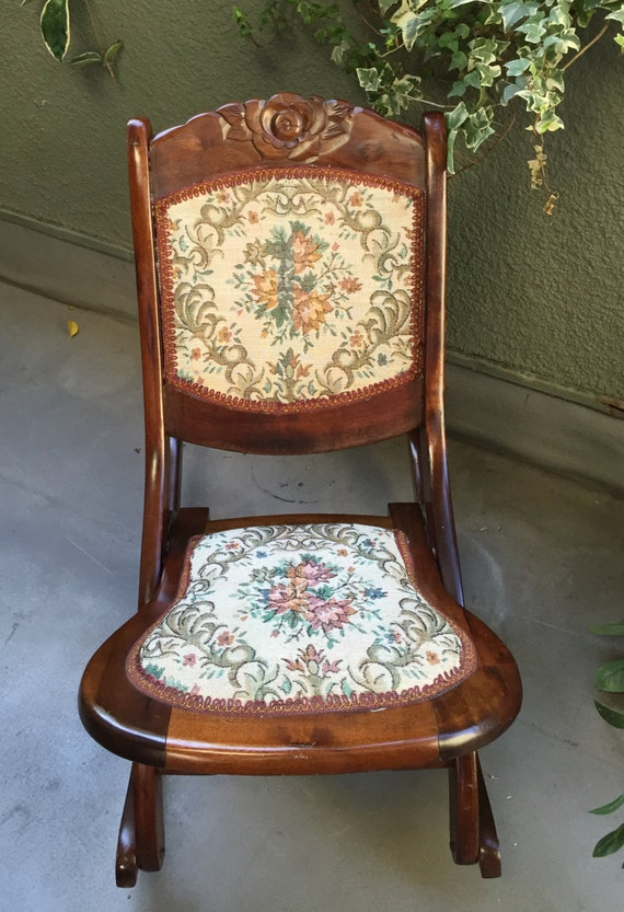 Antique Wooden Carved Chair ~ Antique vintage foldable hand carved rocking chair with