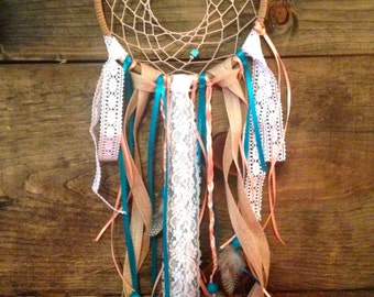 Coral, Teal, Burlap and Lace Native American Inspired Dream Catcher