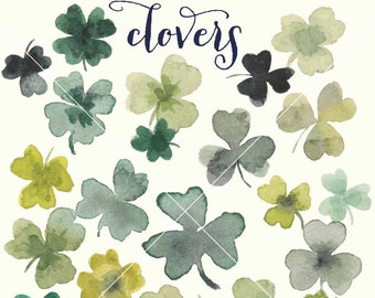 Clovers watercolor clipart