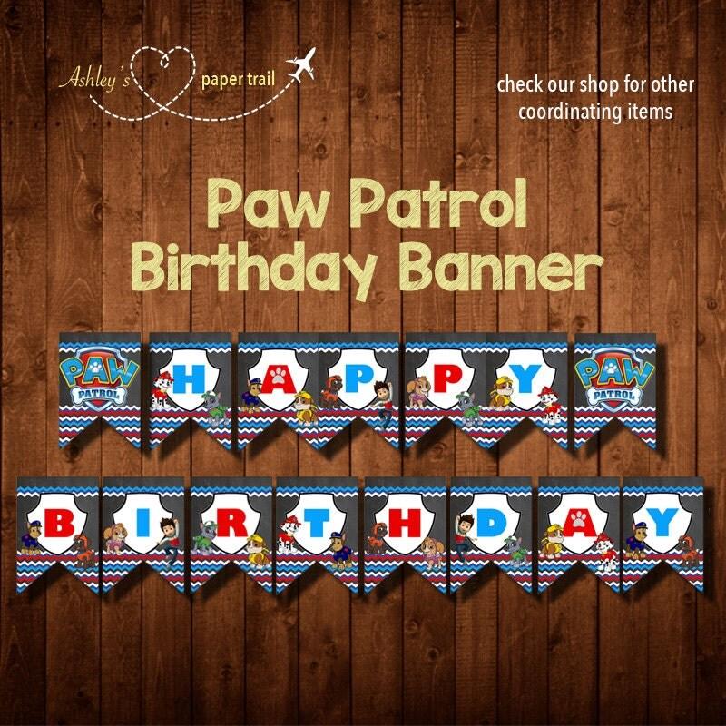 PAW PATROL CHEVRON Birthday Banner Digital By
