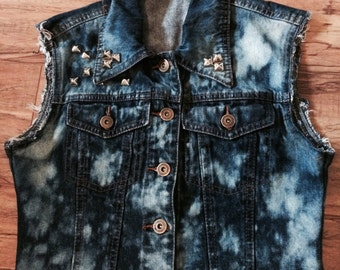Bleach and Studded Jean Vest with Cutoff Sleeves
