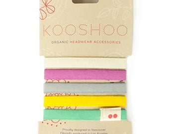Colorful LILA Hair Ties. Premium Organic Cotton, Ouchless, No Crease Hair Ties. Made in the USA Ponytail Holders. Hair Ties for Thick Hair.