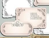 18 Elegant Calligraphic Vintage Labels, Frames Clip Art - eps, png, abr - digital vector clipart, card making, wedding invitations - CV-034