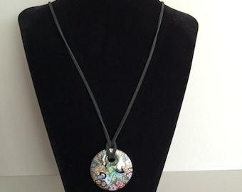36 inch caboshon leather pendant necklace