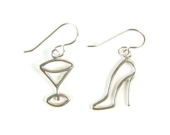 Martini and High Heel Sterling Silver Earrings