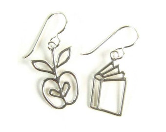Apple and Book Sterling Silver Earrings