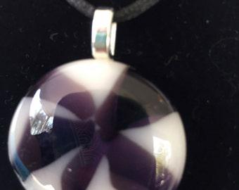 Purple Floral Fused Glass Pendant