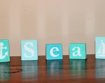 CUSTOM Wooden Letter Blocks - Distressed Blocks - Room Decor