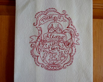 Embroidered Towel, Time for Tea, Shipping Included!