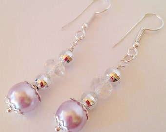 Purple Pearl Earrings Bridesmaid Jewelry Set Dangle Earrings Crystal Jewelry Bridal Jewelry Bridesmaid Gift Jewelry Set Beaded Jewelry