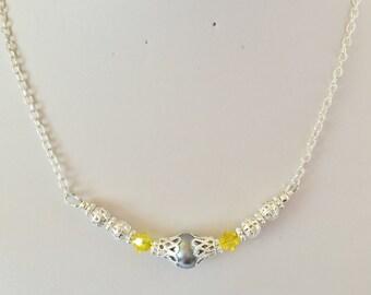 Grey Pearl Wedding Necklace Bridesmaid Necklace Bridesmaid Gift Swarovski Crystal Citrine Crystal Silver Pearl Bridesmaid Jewelry