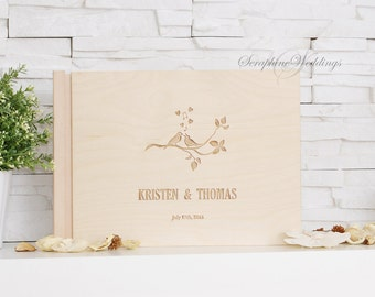 Wedding Guest Book Birds Personalized Wooden Book Custom Laser Engraved