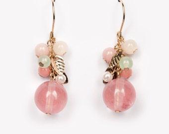 Drop earring Peach rose cute