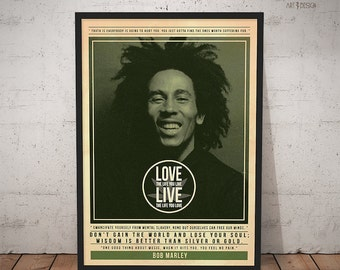Bob Marley Poster - Quote Retro Music Poster - Music Print, Wall Art