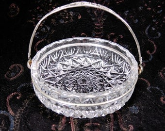 Vintage clear crystal vase for candies Glass bowl