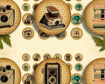 retro cameras photo lomo circles 3 sizes in 1 sheet Vintage - 26 buttons printable collage sheet instant download - Retro Box Collection