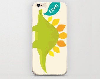 Dinosaur Rawr iPhone 6 Case Apple iPhone 6 Covers and Protective Snap Cases Stegosaurus Kids Lovely Cute for Him or Her Adorable Phone Cover