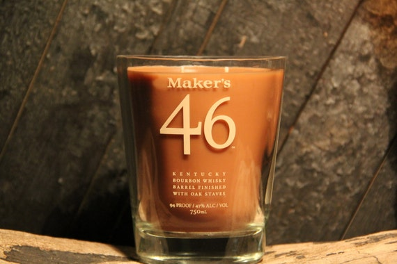 Upcycled Maker's 46 Whisky Candle - Recycled Bourbon Bottle Candle Handmade Soy Candle 750ml Recycled Glass Bottle 18oz Soy Wax