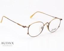 Jean Paul Gaultier 55-2172 / vintage unisex round eyeglasses / twisted temples, gold matte frames / designer eyewear / made in Japan 80's