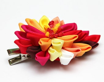 Red Yellow Kanzashi  flower hair clip. Red, yellow, orange and white. Japanese hair clip. Kanzashi hair flower.  Japanese Fabric Flower Clip