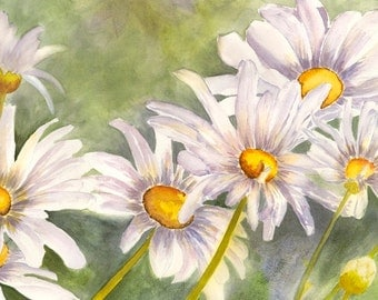 """This daisy flower painting is one of my favorites. It is a fine art, Giclee print. The original watercolor painting is 18"""" x 12"""""""