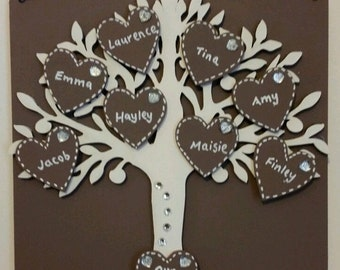 Personalised Wooden Hanging Family Tree Plaque. Any Colour. Can Take Up To 8 Names