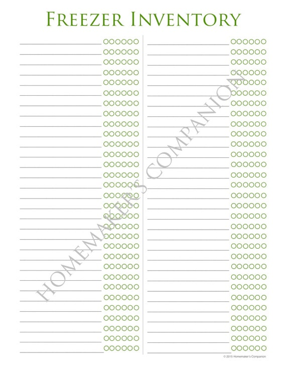 Dynamic image for freezer inventory printable