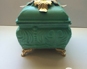 Ornate Turquoise and Gold Keepsake Box