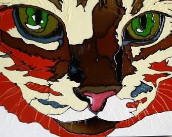 Orange tabby cat pet portrait- Vibrant gloss paint on metal canvas