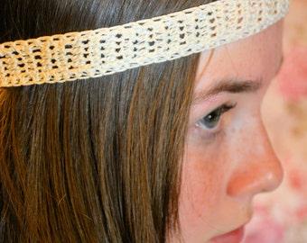 Crochet Ivory Headband