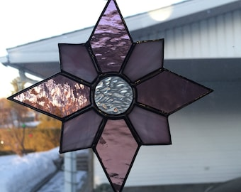Pink Star Stained Glass Suncatcher
