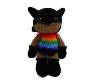MADE TO ORDER - lgbt Pride Superhero Amigurumi, Rainbow doll, cute colourful crochet