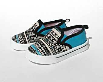 Hand-Painted Tribal Toddler Shoes - Size 5