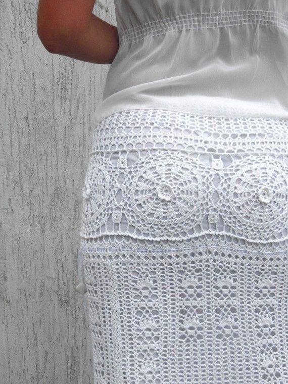 white maxi skirt crochet beautiful skirt by taramayknit