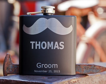 Personalized Groomsman Mustache Flask, Custom Engraved Flask, Wedding Gift for Groomsmen, Bachelor Party, Best Man Gift Flask Customized