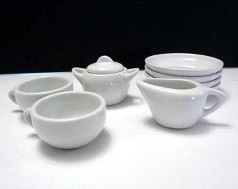 Plain white child's tea set