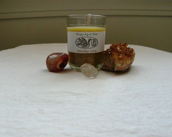 Woodsy Love~Pure Beeswax Candle w/ Essential oils