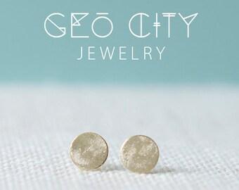 Simple Brushed Gold Circle Stud Earrings | simple earrings | Gold Earring Studs | Tiny Earrings | Small Earrings | Bridesmaids
