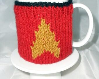 Handmade Knitted Star Trek Red Security/Engineering Inspired Mug Warmer/Mug Hug with base