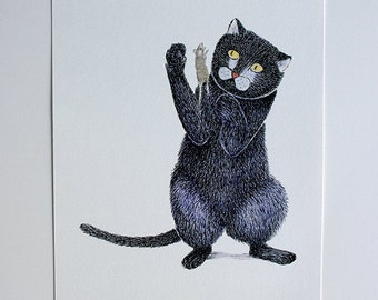 Print of cat and mouse