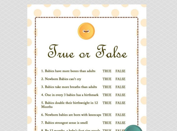 True Or False Baby Shower Game, Cute As A Button Baby Shower Games  Printables, Gender Neutral Baby Shower TLC22