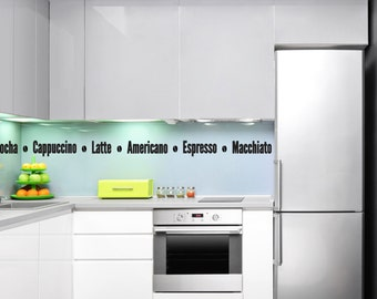 Coffee Names Kitchen Wall Decal - Kitchen Wall Stickers