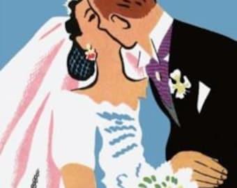 """RETRO WEDDING Card. Retro Vintage Card. """"Retro.""""-  card. [814-131]"""
