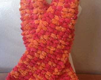 Red and Orange Pom-Pom Scarf