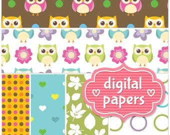 Adorable Cute Owl printable digital paper backgrounds and patterns for personal and commercial use - High Resolution 300 DPI