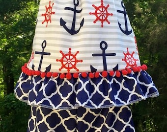 SALE!!! Sailor Anchor Boutique Top and Capri Ruffle Bottoms- Pageant Outfit - Fourth of July - Summer Outfit