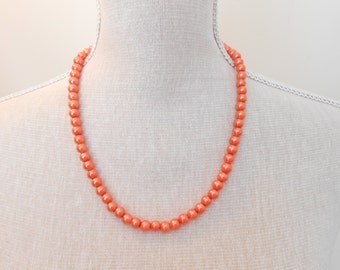 Orange Pearl Necklace - Glass Pearl Jewelry - Orange Necklace - Orange Jewelry - Bridesmaid Necklace - Wedding Jewelry - Beaded Necklace