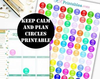 Keep Calm and Plan Circle Printable Digital Download / Erin Condren Printable / Plum Paper Printable / Planner Insert Digital Download 00038