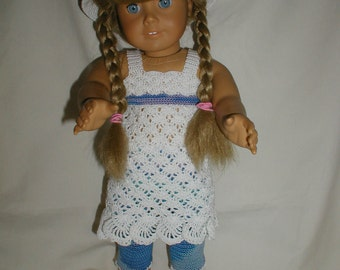 "Hand Crochet Top, Hat and capris for 18"" Dolls"